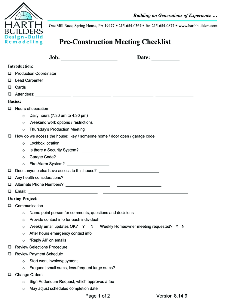 How To Create And Use Pre Construction Meeting Checklists Remodeling Industry News Qualified Remodeler