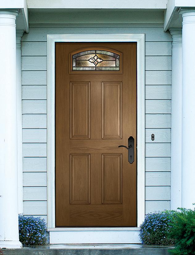 Glass shape complements any door