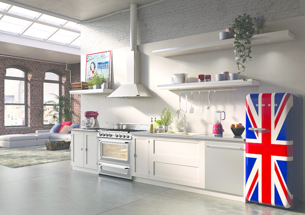 Free-standing range, vent hood pair European design with high-tech functions