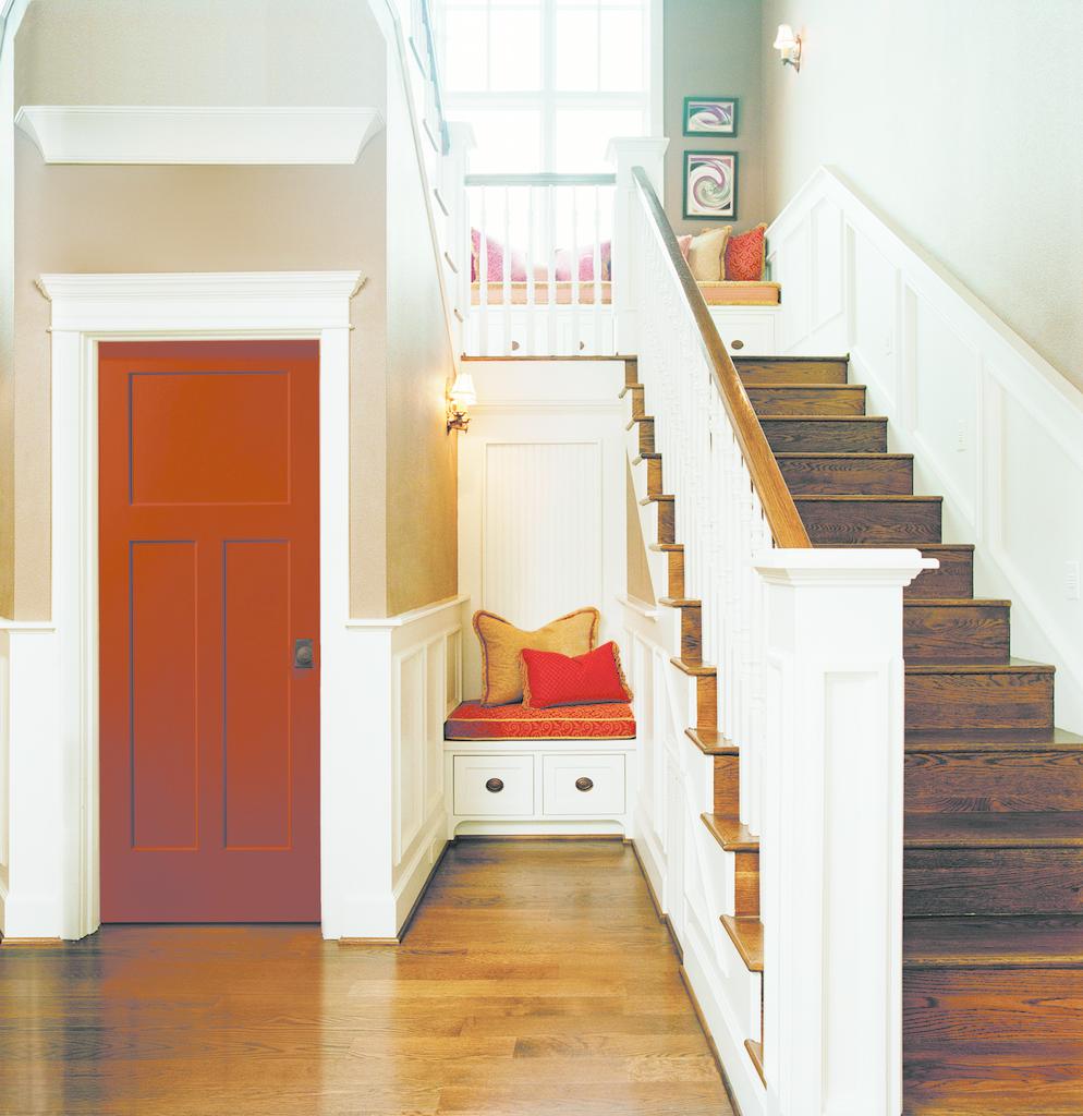 Interior door with recessed flat panel design