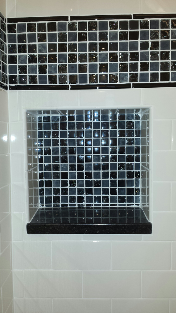 Bath, shower recess finished with ceramic, porcelain or stone