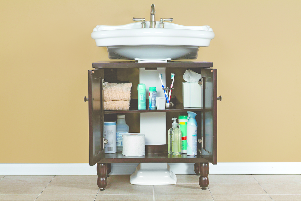 Storage solution for pedestal sinks