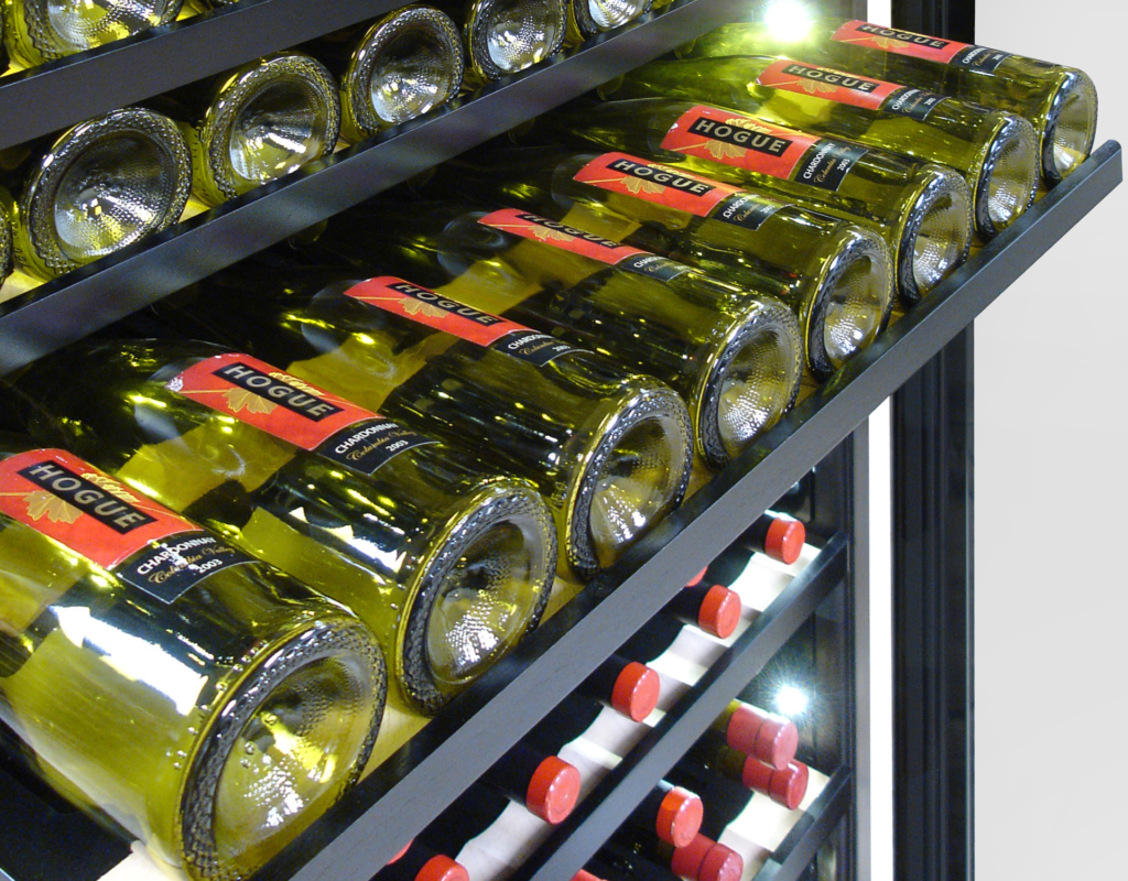 Adjustable shelving in cooler accommodates 300 bottles