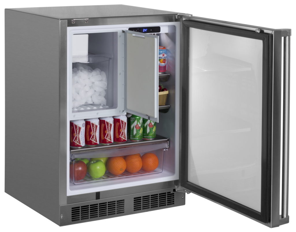 Add-on ice maker accessory for outdoor refrigerator
