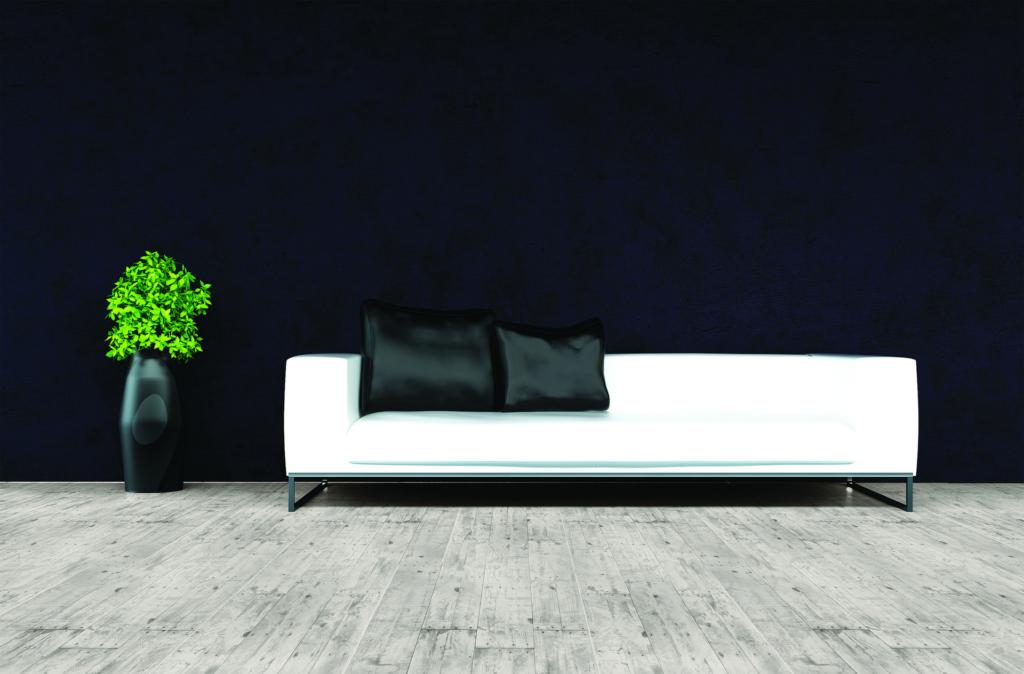 Tile resembles reclaimed wood floor