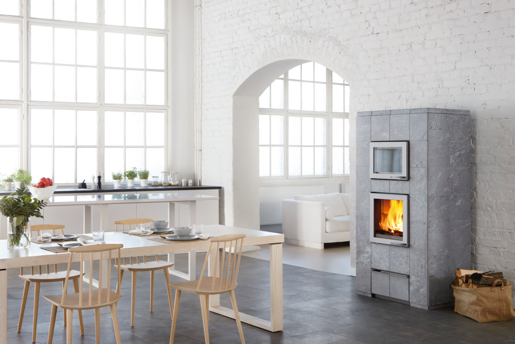 Bake oven combined with, warmed by fireplace
