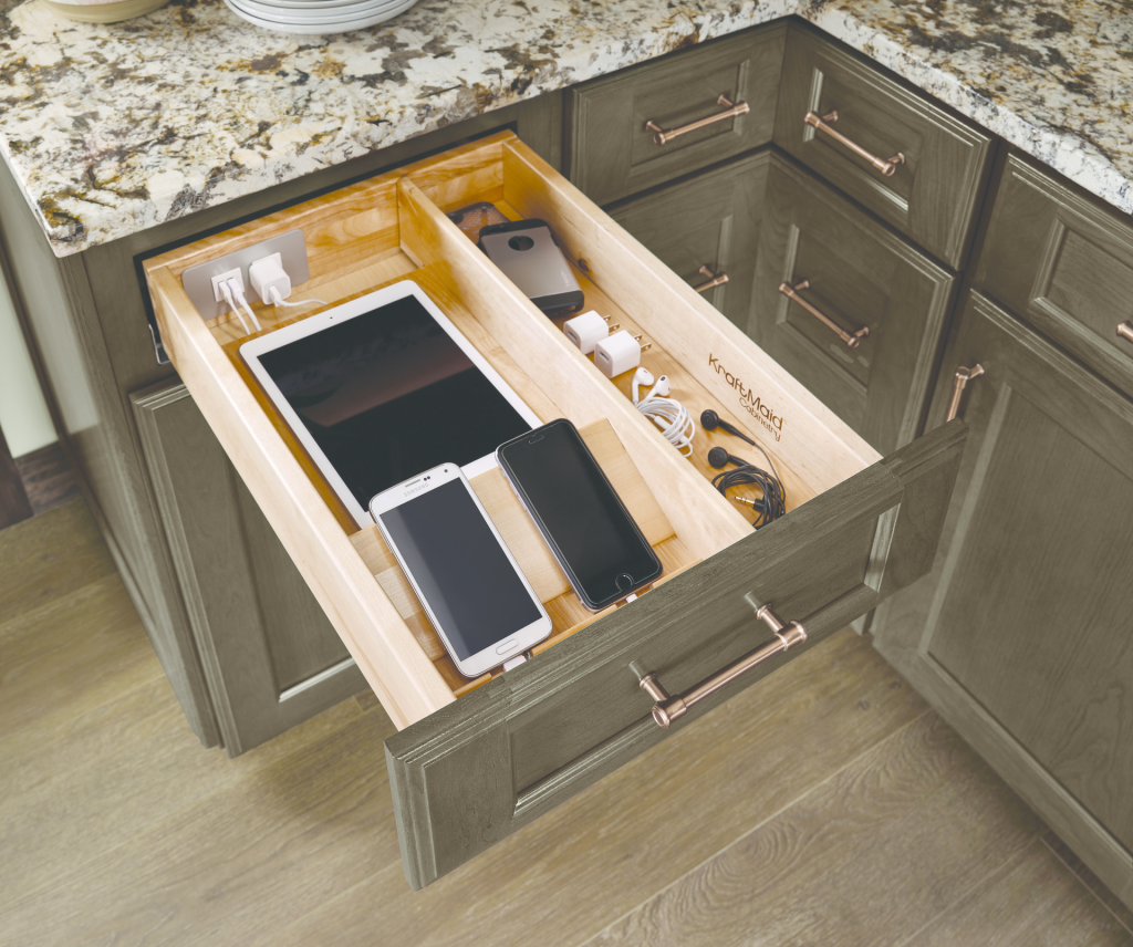 Kitchen storage for charging devices