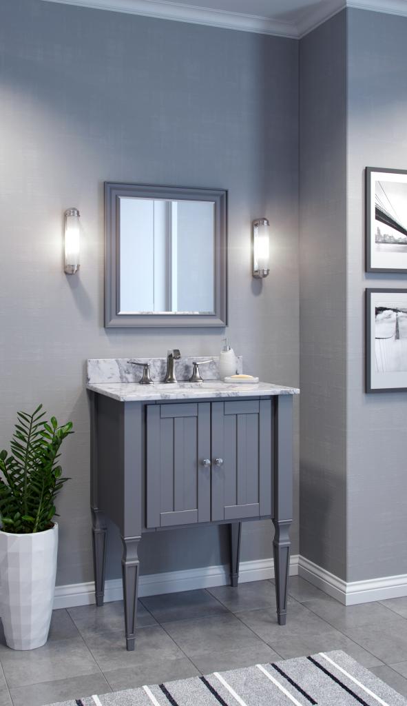 Gray and White Bath Vanities