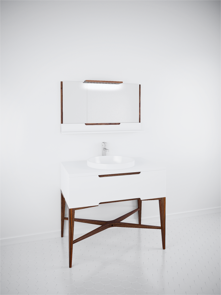 White & Walnut Vanity