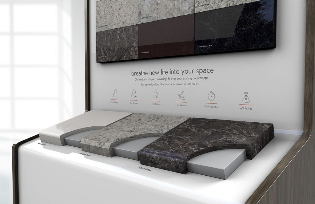 Quartz surface fits over existing surfaces