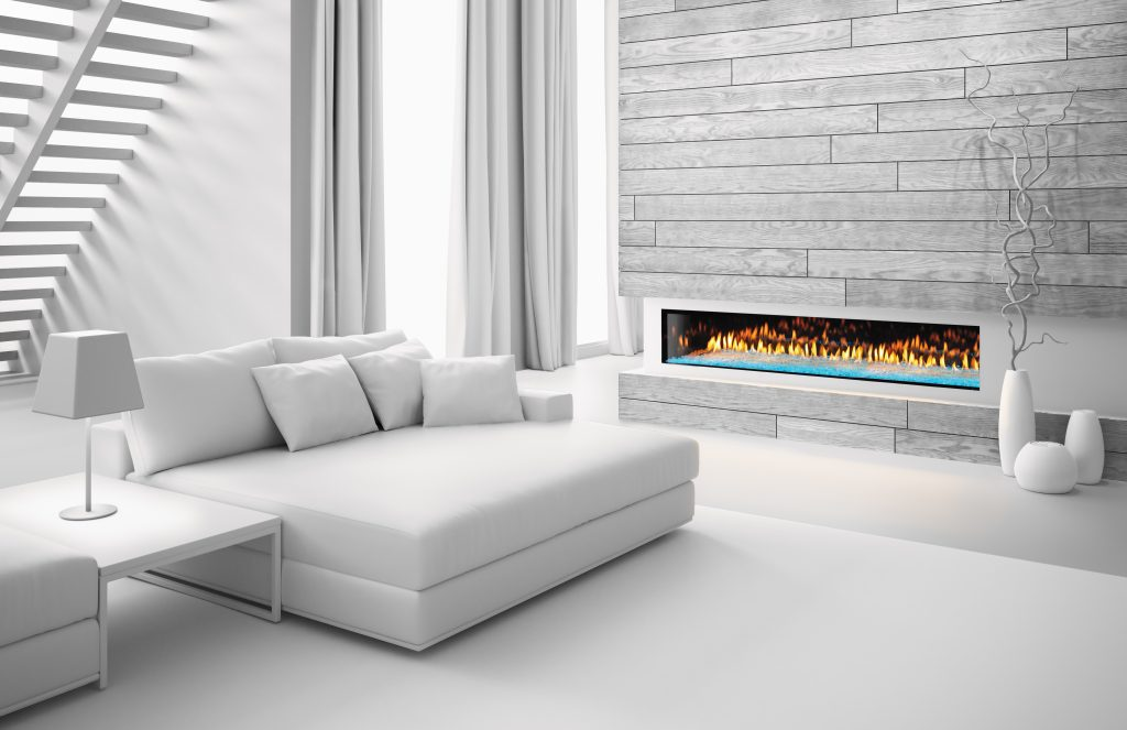 Distribute heat from modern fireplace