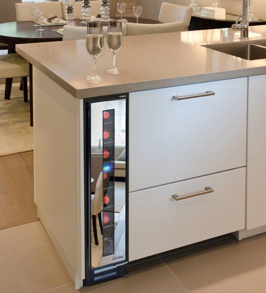 Wine cooler with minimal footprint