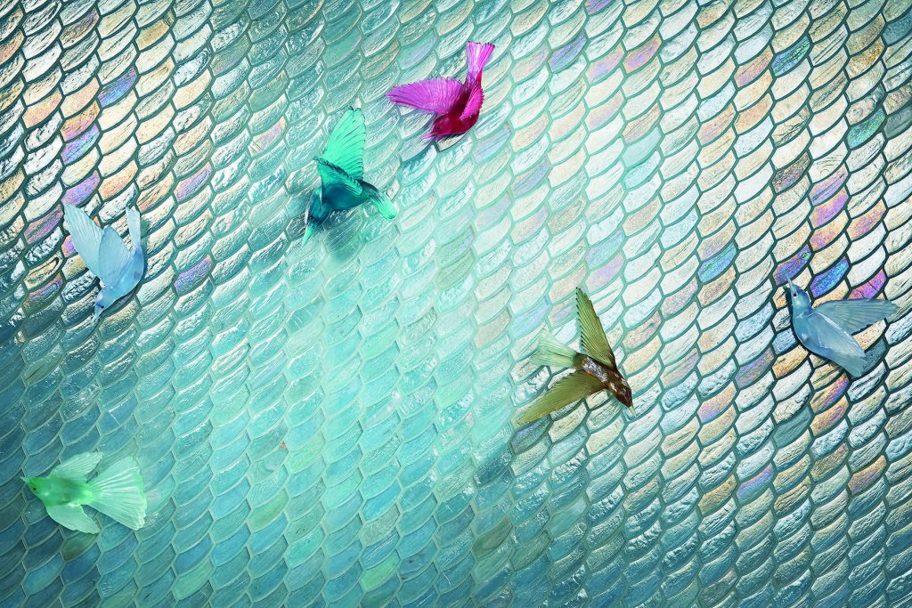 Mosaic tile inspired by sun on water