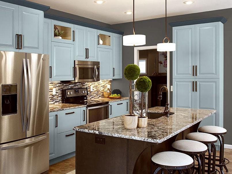 Sky Blue Painted Cabinets
