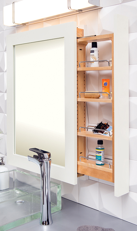 Mirror with Pull-Out Storage