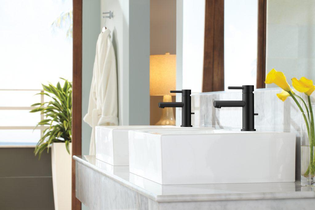 Matte black bath suite