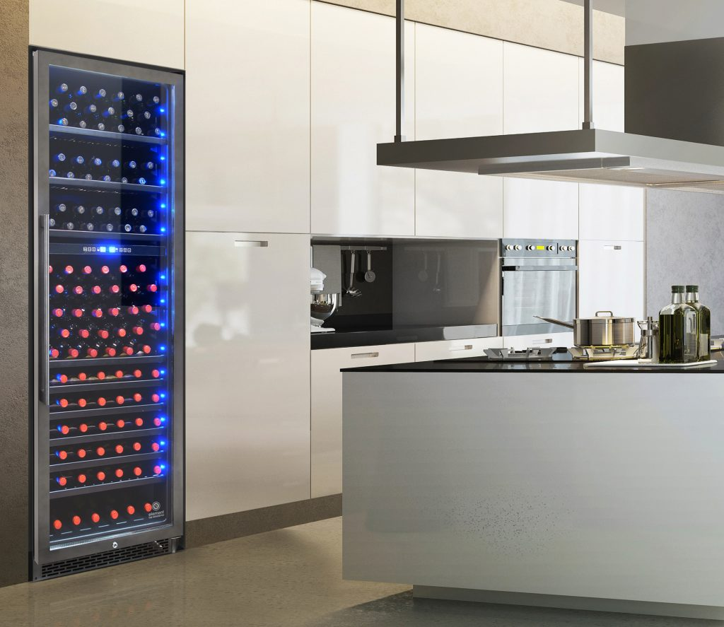 Wine cooler with black stainless steel finish