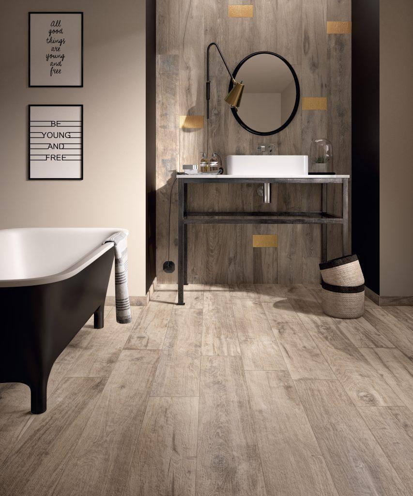 Wood-look porcelain tile in five colors