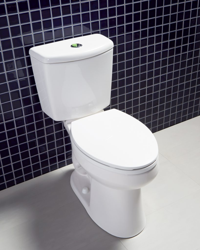 Toilet with small footprint, high efficiency