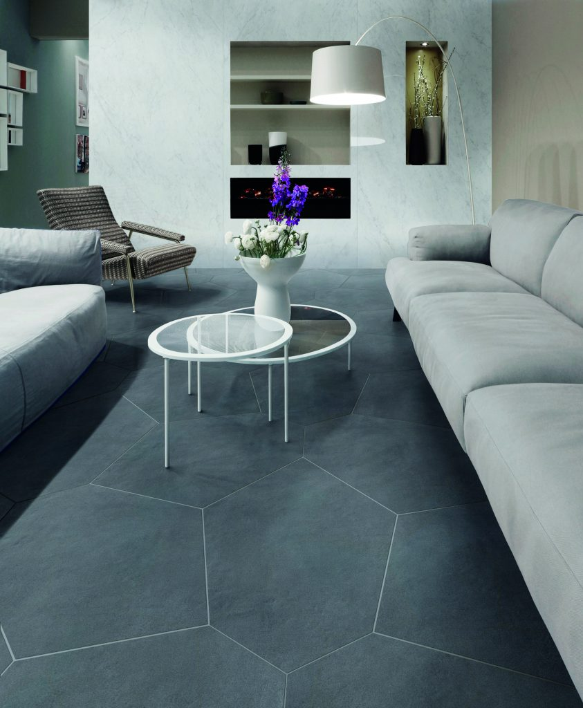 Floor/wall tile combines look of cement, plaster