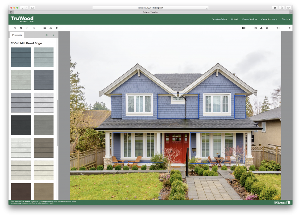 Siding, accents, trim visualizer tool