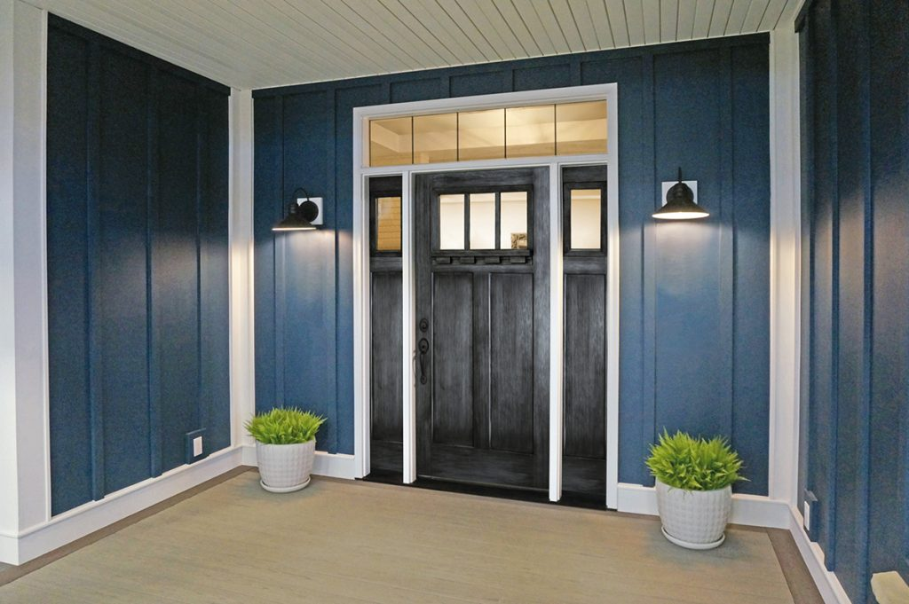 Distressed finish for entry doors