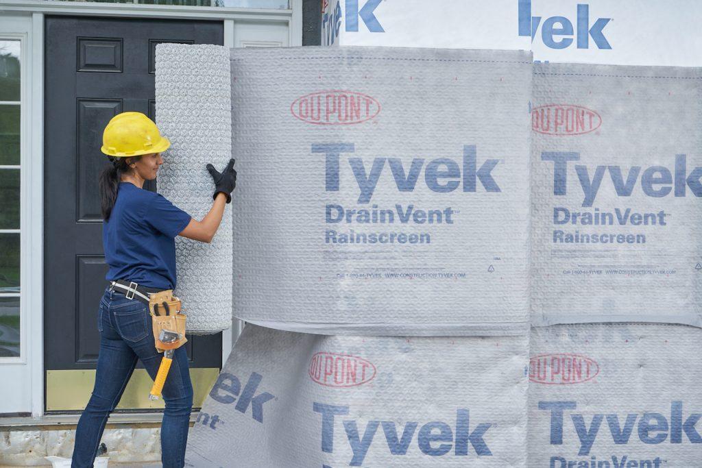 Rainscreen's fabric prevents mortar, stucco infiltration