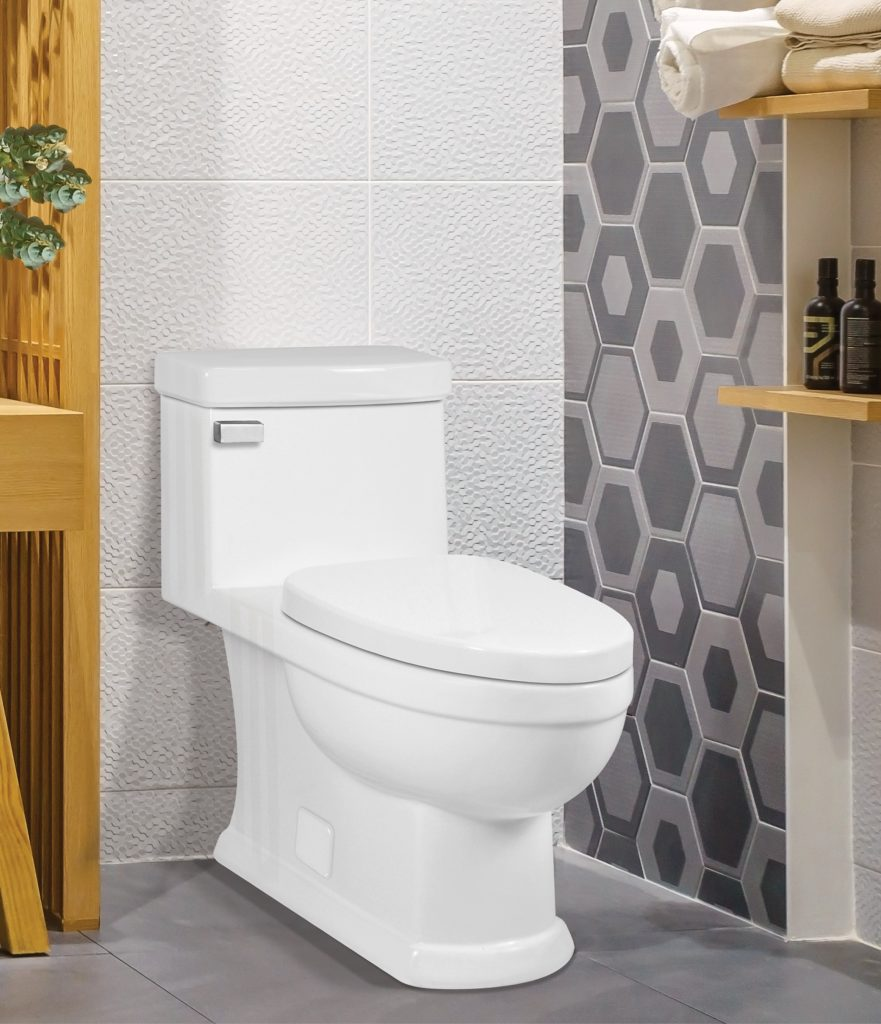 Redesigned one-piece toilet