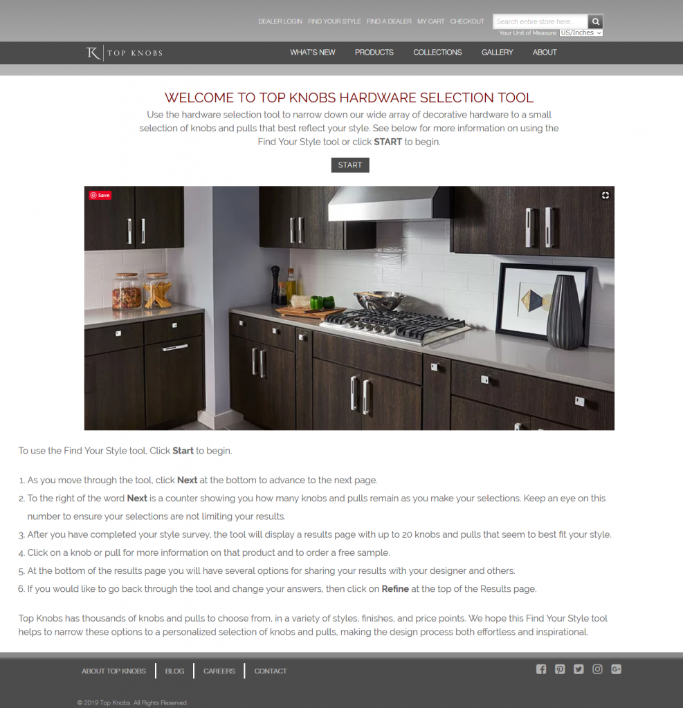 Digital selection tool for decorative hardware