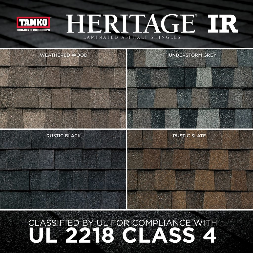 Impact-resistant shingle comes in four colors