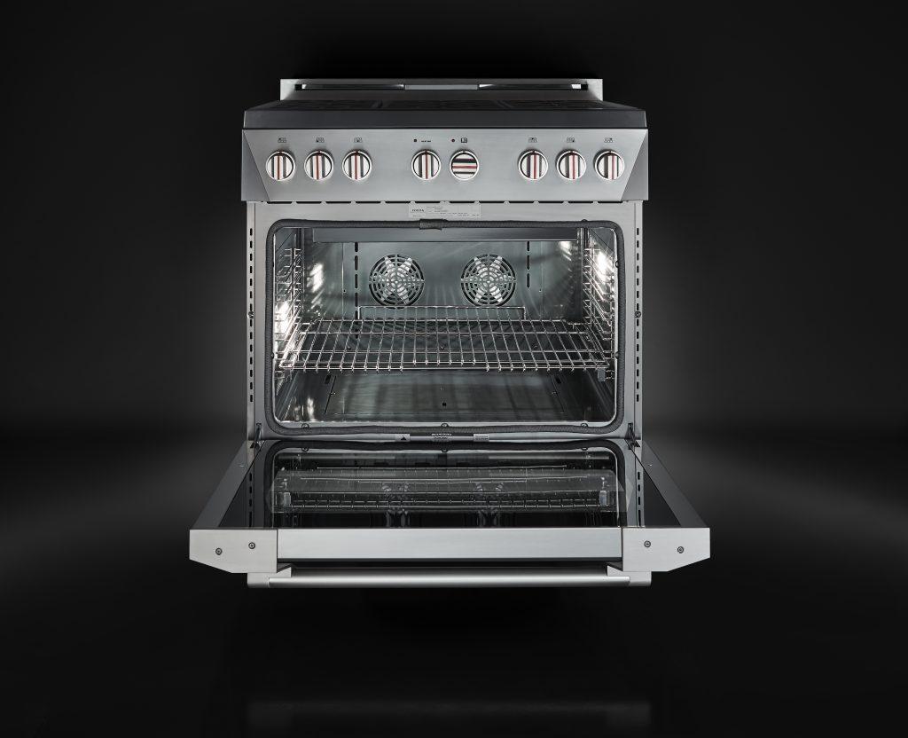 Racecar-inspired gas range revs up kitchen design