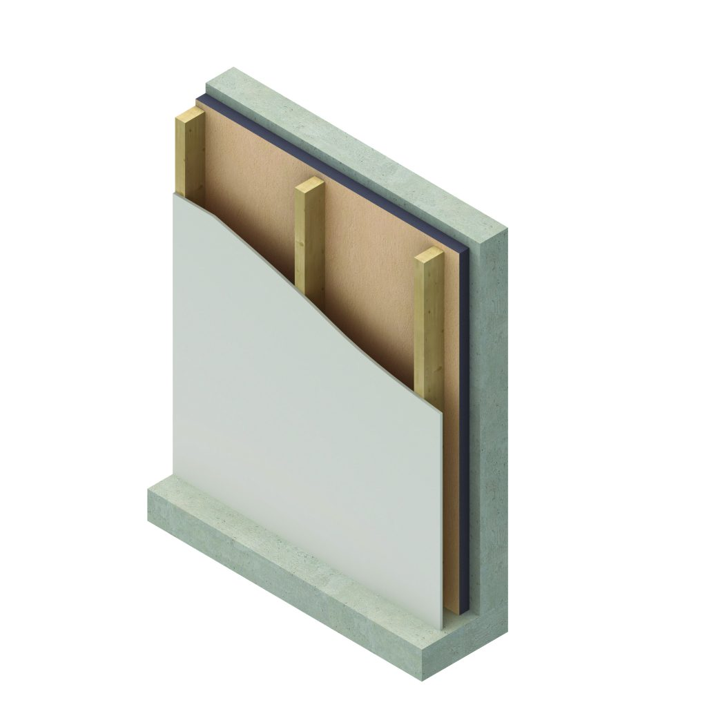 Insulation installs directly to interior-space concrete walls