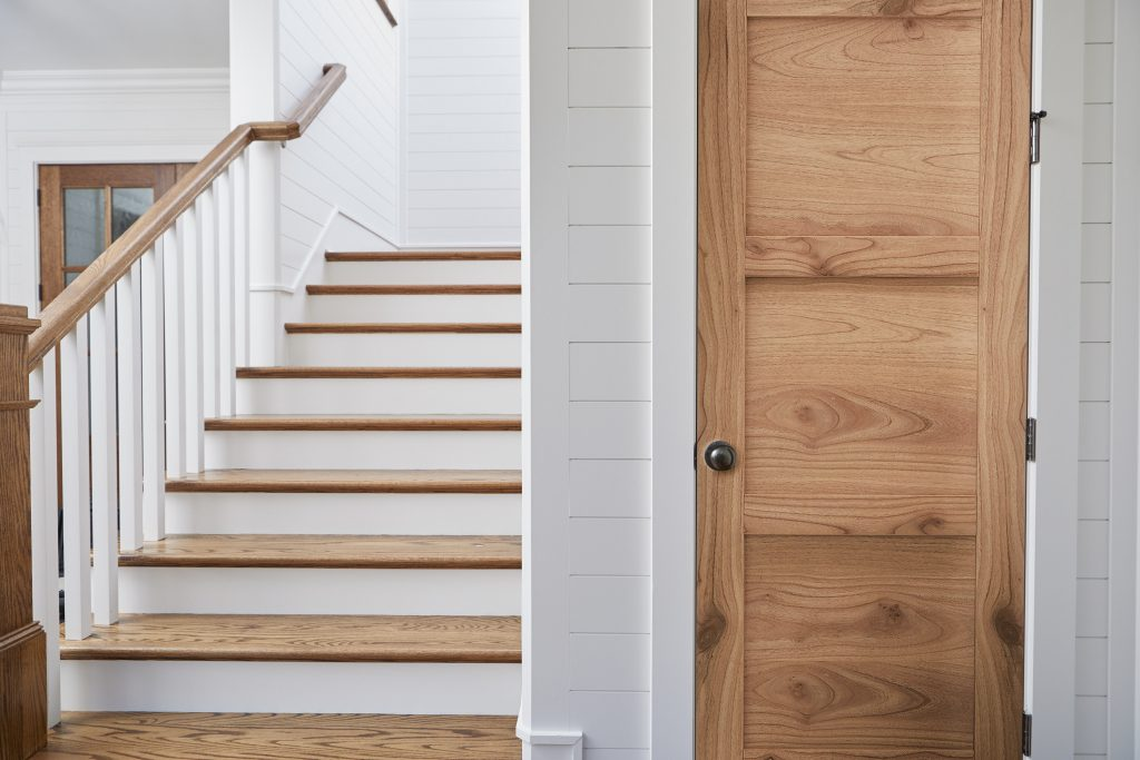 Interior door pairs natural tones with contemporary style