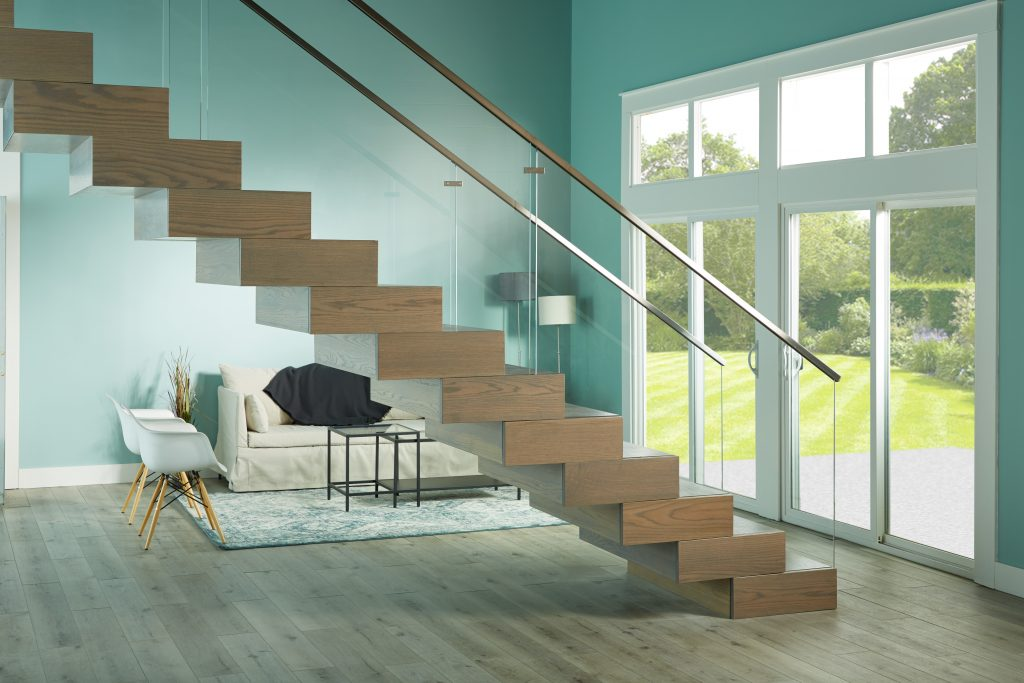 Floating stair system has no visible means of support underneath