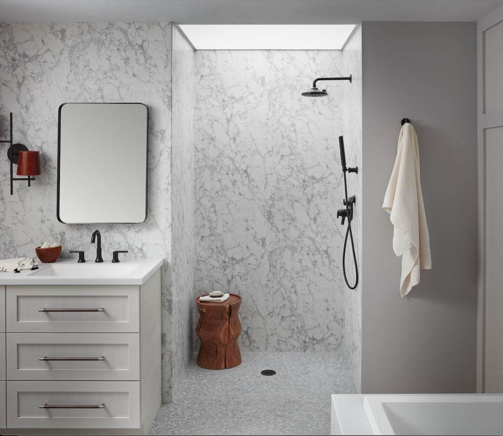 Easy-to-install panels mimic natural woods, marble slabs