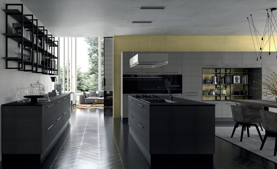 Cabinet furniture blends soft texture with metallic look