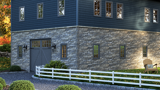 Composite panels replicate appearance of stacked stone