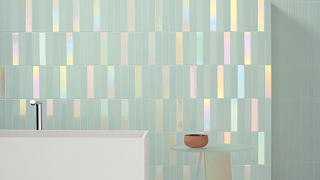 Wall tile includes hologram option for rainbow look