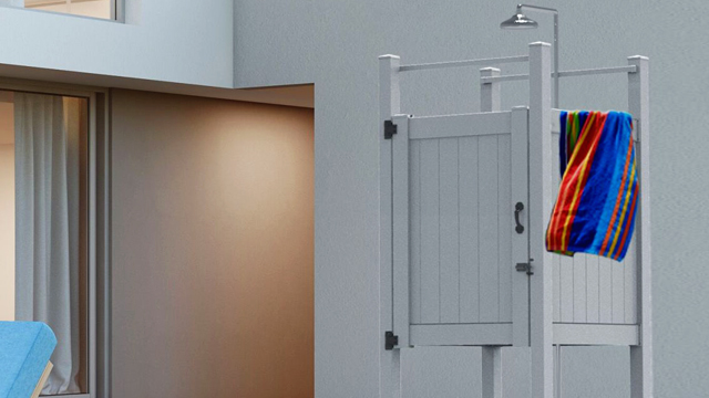 Outdoor shower kit presents affordable backyard luxury