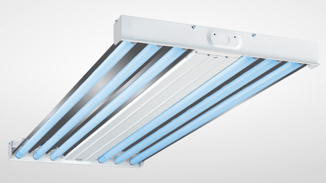 Germicidal UV fixtures disinfect surfaces, areas