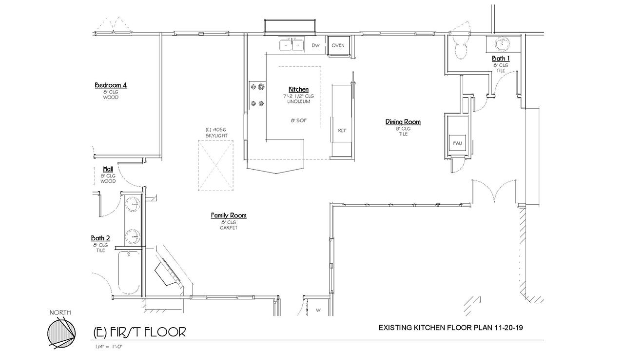 Jackson_Design-Woodland Modern Kitchen_Existing Kitchen Floor Plan