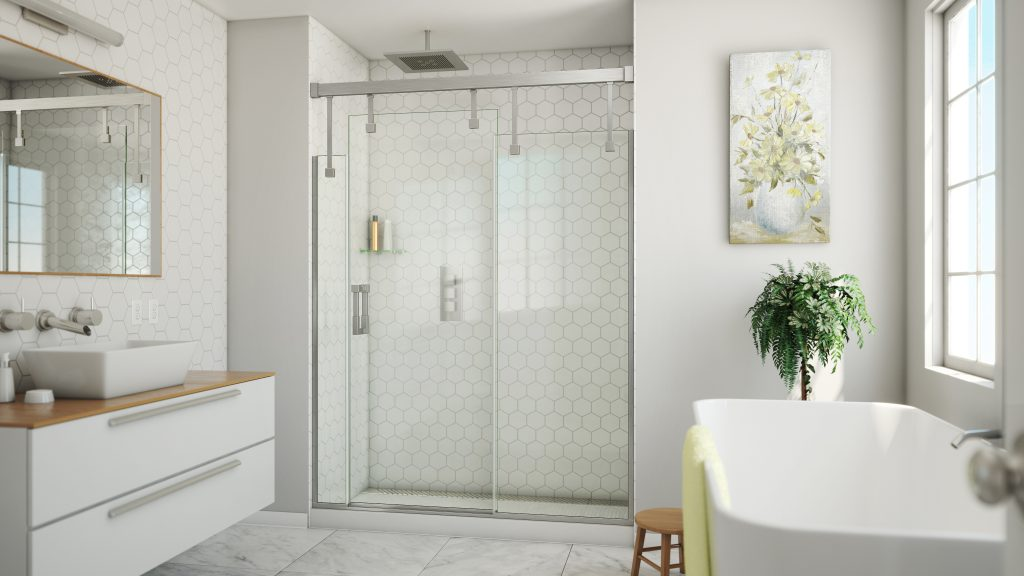 Stepped Shower Door Design