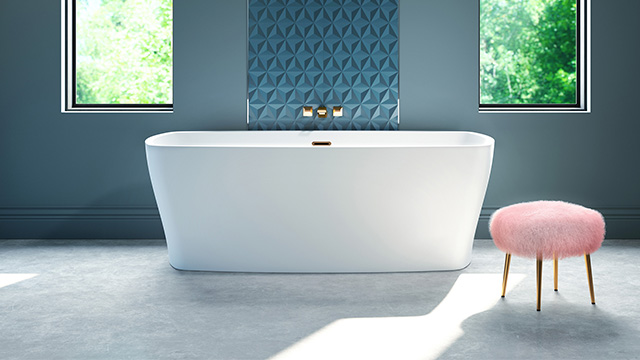 Bathtub crafted of pure acrylic for lasting beauty