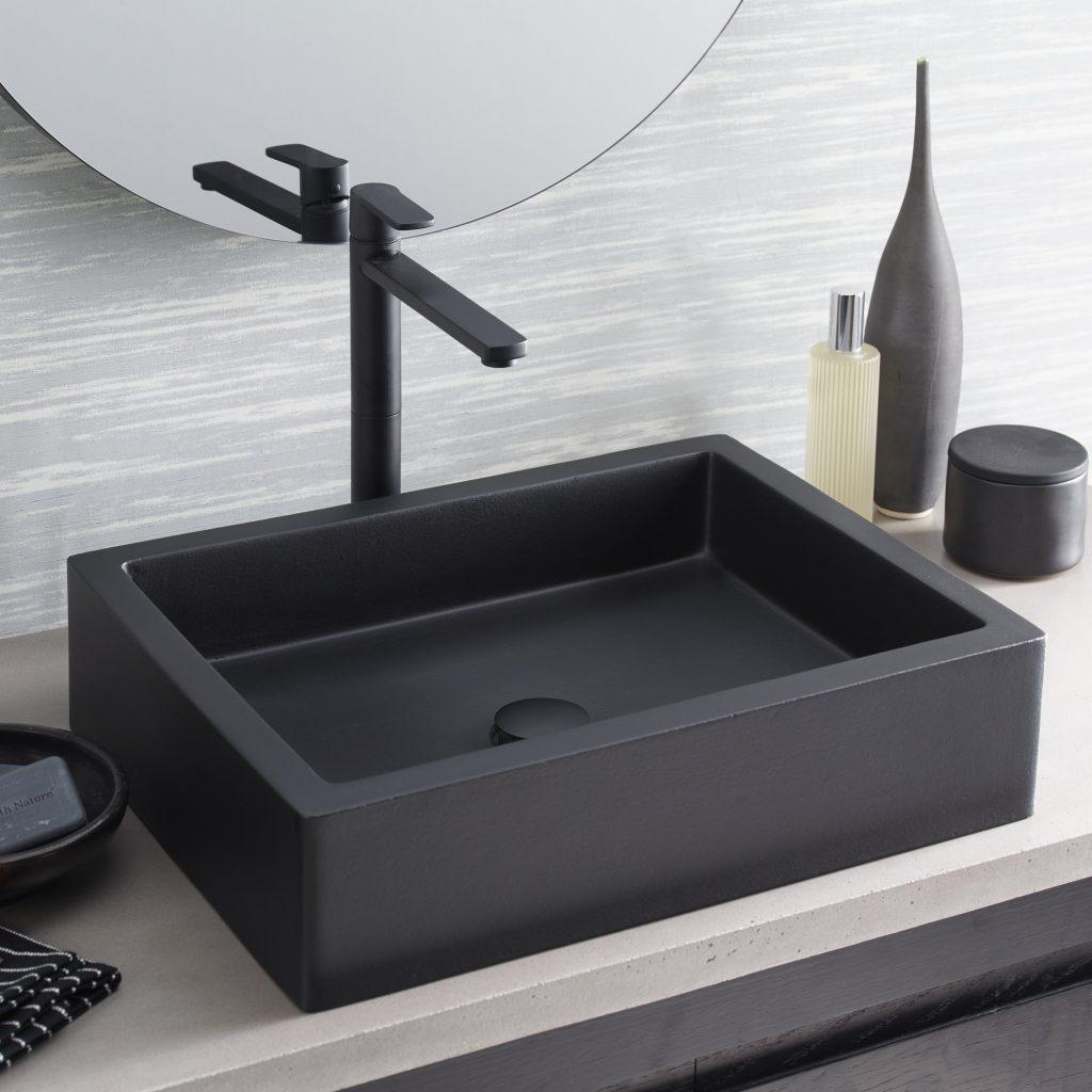 Black Matte Concrete Sink